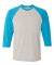 42BA X-Temp Three-Quarter Sleeve Baseball T-Shirt Light Steel/ Neon Blue