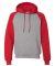 Russel Athletic 693HBM Dri Power® Colorblock Raglan Hooded Sweatshirt Oxford/ True Red
