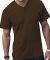 6907 LA T Adult Fine Jersey V-Neck T-Shirt BROWN