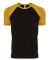 Next Level Apparel 3650 Unisex Raglan Short Sleeve Tee ANTQUE GOLD/ BLK