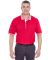 8537 UltraClub® Adult Color-Body Classic Pique Cotton Polo with Contrasting Multi-Stripe Trim RED/ WHITE
