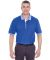 8537 UltraClub® Adult Color-Body Classic Pique Cotton Polo with Contrasting Multi-Stripe Trim ROYAL/ WHITE