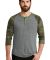 AA1989 Alternative Apparel Henley Baseball Tee ECO GREY/ CAMO