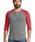 AA1989 Alternative Apparel Henley Baseball Tee EC GRY/ EC TR RD