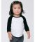 American Apparel BB053W Infant Poly-Cotton 3/4-Sleeve T-Shirt WHITE/ BLACK