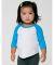 American Apparel BB053W Infant Poly-Cotton 3/4-Sleeve T-Shirt WHT/ NE HT BLU