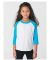 American Apparel BB153W Toddler Poly-Cotton 3/4-Sleeve T-Shirt WHT/ NEO HTR BLU