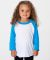 American Apparel BB153 Kids Poly-Cotton Baseball Tee White/Neon Heather Blue(Discon