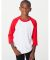 American Apparel BB253W Youth Poly-Cotton 3/4-Sleeve T-Shirt WHITE/ RED