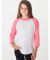 American Apparel BB253W Youth Poly-Cotton 3/4-Sleeve T-Shirt WHT/ NEO HTR PNK