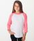 BB253 American Apparel Youth Poly Cotton Raglan WH/Neon H. Pink (Discontinued)