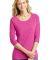 DM444 District Made Ladies Tri-Blend Lace 3/4-Sleeve Tee Dk Fuchsia Hth
