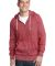 District Young Mens Marled Fleece Full Zip Hoodie DT192 Mrld Deep Red