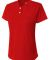 NG3143 A4 Drop Ship Girl's Tek 2-Button Henley Shirt SCARLET