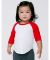 American Apparel BB053W Infant Poly-Cotton 3/4-Sleeve T-Shirt White Neon Heather Pink