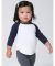 American Apparel BB053W Infant Poly-Cotton 3/4-Sleeve T-Shirt White/Navy