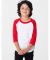 American Apparel BB153 Kids Poly-Cotton Baseball Tee White/Red(Discontinued)