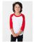 American Apparel BB153W Toddler Poly-Cotton 3/4-Sleeve T-Shirt White/Red