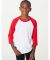 BB253 American Apparel Youth Poly Cotton Raglan White/Red (Discontinued)