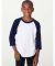 BB253 American Apparel Youth Poly Cotton Raglan White/Navy (Discontinued)