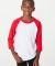 American Apparel BB253W Youth Poly-Cotton 3/4-Sleeve T-Shirt White/Red
