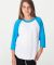 American Apparel BB253W Youth Poly-Cotton 3/4-Sleeve T-Shirt White Neo Heather Blue