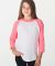 American Apparel BB253W Youth Poly-Cotton 3/4-Sleeve T-Shirt White Neon Heather Pink