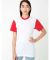 BB401 American Apparel Unisex Poly-Cotton Short Sleeve Crew Neck  White/Red (Discontinued)