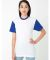 BB401 American Apparel Unisex Poly-Cotton Short Sleeve Crew Neck  White/Lapis (Discontinued)