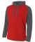 N4234 A4 Drop Ship Men's Color Block Tech Fleece Hoodie SCARLET/ GRPHITE