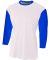 NB3294 A4 Drop Ship Youth 3/4 Sleeve Utility Shirt WHITE/ ROYAL
