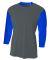 NB3294 A4 Drop Ship Youth 3/4 Sleeve Utility Shirt GRAPHITE/ ROYAL