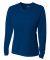 NW3255 A4 Drop Ship Ladies' Long Sleeve V-Neck Birds Eye Mesh T-Shirt NAVY