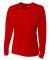 NW3255 A4 Drop Ship Ladies' Long Sleeve V-Neck Birds Eye Mesh T-Shirt SCARLET