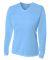 NW3255 A4 Drop Ship Ladies' Long Sleeve V-Neck Birds Eye Mesh T-Shirt LIGHT BLUE