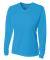 NW3255 A4 Drop Ship Ladies' Long Sleeve V-Neck Birds Eye Mesh T-Shirt ELECTRIC BLUE