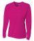 NW3255 A4 Drop Ship Ladies' Long Sleeve V-Neck Birds Eye Mesh T-Shirt FUCHSIA