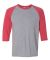 A6755 Anvil Adult Tri-Blend 3/4-Sleeve Raglan Tee  HTH GR/ TR H RED