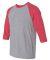 A6755 Anvil Adult Tri-Blend 3/4-Sleeve Raglan Tee  Heather Grey/ Heather Red