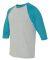 A6755 Anvil Adult Tri-Blend 3/4-Sleeve Raglan Tee  Heather Grey/ Heather Galapagos Blue