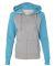 8868 J. America Women's Glitter Hooded Full-Zip S Oxford/ Maui Blue