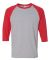 5700 Gildan Heavy Cotton Three-Quarter Raglan T-Sh SPORT GREY/ RED