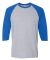 5700 Gildan Heavy Cotton Three-Quarter Raglan T-Sh SPORT GRY/ ROYAL