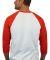 5700 Gildan Heavy Cotton Three-Quarter Raglan T-Sh WHITE/ RED