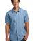DM3810 District Made Mens Short Sleeve Washed Wove Light Blue