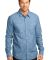 DM3800 District Made Mens Long Sleeve Washed Woven Light Blue