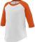 Augusta Sportswear 422 Toddler Baseball Tee White/ Orange