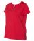 LAT 3807 Curvy Collection Women's V-Neck Tee RED
