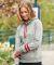 197 8674 Women's Melange Fleece Striped Sleeve Hooded Pullover Catalog