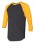 BB453W 50/50 Three-Quarter Sleeve Raglan T-shirt HTH BLK/ GOLD